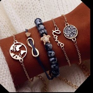 5PC world 🌎 infinity ♾ 🐢 turtle bracelets